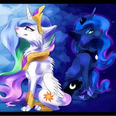 Princess Celestia and Princess Luna as wolves