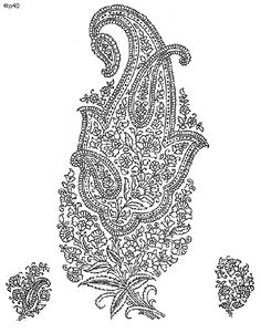 Indian Saree - Textile Patterns & Embroidery Designs 9 - Traditional Floral Paisley
