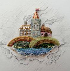 Miniature Coastal Scene in Stumpwork ~ RSN raised embroidery class led by Jenny Adin-Christie