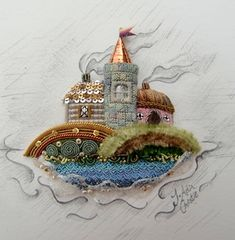 Miniature Coastal Scene in Stumpwork ~ RSN raised embroidery class led by Jenny Adin-Christie