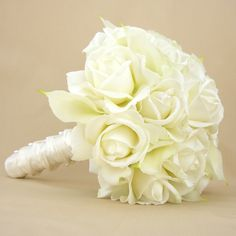 Items similar to White Bridal Bouquet Roses Calla Lilies Real Touch Silk Wedding Flowers on Etsy Calla Lillies Bouquet, Flower Girl Bouquet, Rose Bridal Bouquet, Wedding Bouquets, Bouquet Wrap, Diy Bouquet, White Wedding Flowers, White Bridal, White Roses