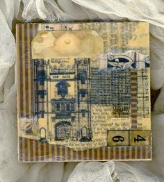 Mixed media and beeswax encaustic collage by glendabaileydesigns