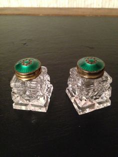 Vintage Old Glass Small Salt and Pepper Shakers by PapaJandMamaT