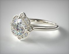 Halo Engagement Ring in White Gold - Setting Only
