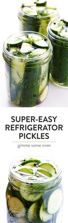 Easy Refrigerator Pickles is part of Refrigerator pickle recipes - This Easy Refrigerator Pickles recipe only takes about 5 minutes to prep, and makes perfectly crisp and delicious pickles that you'll LOVE! Refrigerator Pickle Recipes, Refridgerator Pickles Dill, Homemade Refrigerator Pickles, Do It Yourself Food, Eat Better, Healthy Snacks, Healthy Recipes, Clean Recipes, Gimme Some Oven