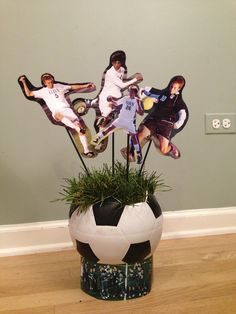 my centerpieces from last year's party #soccer soccer cleats