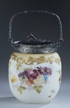 "Mt. Washington ""Crown Milano"" Biscuit Jar Floral Decoration with Gold Scrolling - 6 3/4 inch HOA signed CM"