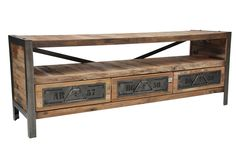 TV Unit: Beautiful combination of wood and industrial metal, maybe bigger and bulkier.