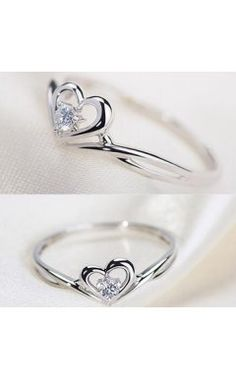 2016 New Silver Sweetheart with Shiny Cubic Zirconia Promise Ring for Her