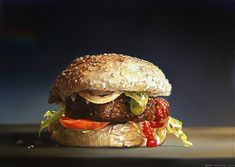 Tjalf Sparnaay: Hamburger I, 2004 40 x 50 cm o/l Painting Still Life, Still Life Art, Art Hyperréaliste, Tjalf Sparnaay, Hyperrealistic Art, Hyper Realistic Paintings, Food Painting, Good Enough To Eat, Realism Art