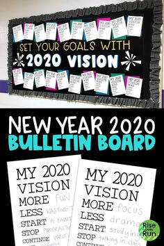 Ring in the new year with this goal setting bulletin board. Students create their 2020 vision sheets by setting goals. motivation 2020 Bulletin Board for New Year Bulletin Board Design, Winter Bulletin Boards, Classroom Bulletin Boards, Classroom Decor, Leadership Bulletin Boards, Counselor Bulletin Boards, Christmas Bulletin Boards, Classroom Memes, Reading Bulletin Boards