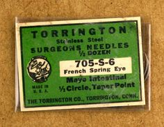 Torrington Vintage Stainless Steel Surgeons Needles Made in USA New Old Stock