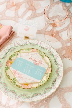Place Setting | Love the mix of modern + vintage | See more on SMP: http://www.StyleMePretty.com/2014/02/18/pastel-bridal-inspiration-shoot/ City Love Photography