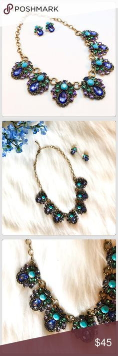 NWT Turquoise/Purple Crystal Necklace Earring Set Wow! What a beauty this is! It sparkles and glitters! This is a show stopper for sure! It has an adjustable closure! Boutique Jewelry Necklaces