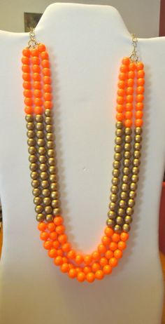 Neon Orange and Gold Color Block Necklace by KRsKreations on Etsy, $45.00