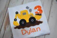 Construction Backhoe/Digger Birthday Shirt by StrawberryKissesKids