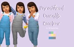 """calexasims: """" 1000 Followers gift Pt 2! This is part 2 of my 1000 followers gift, sorry it took like a week for part 2… I really wanted some more denim overalls for the kids so I recoloured the parenthood overalls in 2 blue denims and one grey ish..."""