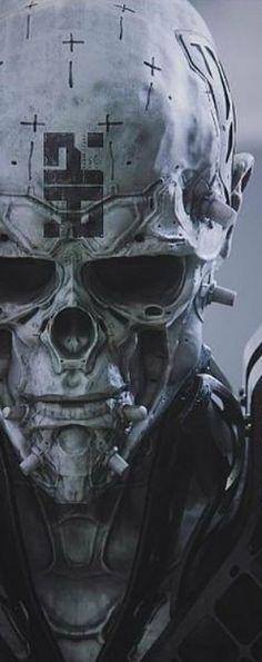 Dark Fantasy Art, Sci Fi Fantasy, Dark Art, Character Inspiration, Character Art, Totenkopf Tattoos, Arte Robot, Cyberpunk Character, Ex Machina