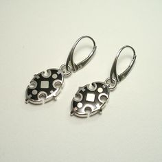 Gothic Enamel Silver Dangle Earrings - product images of Jewelry Art, Jewellery, Silver Enamel, Gothic Fashion, Sterling Silver Jewelry, Dangle Earrings, Dangles, Handmade Silver, High Gloss