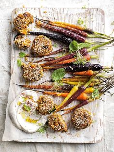 These pumpkin, chickpea and brown rice balls with labne and roasted carrots are a great healthy dinner, packed with veggies! Pickled Carrots, Glazed Carrots, Roasted Carrots, Chickpea Recipes, Carrot Recipes, Veg Recipes, Crispy Chickpeas, Canned Chickpeas, Mustard Butter Recipe