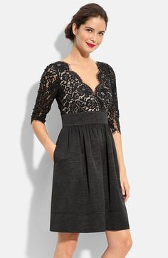 Free shipping and returns on Eliza J Lace & Faille Dress (Regular & Petite) at Nordstrom.com. A lace overlay fashions the elbow-length sleeves and V-neck bodice on an Empire-waisted dress with a full faille skirt. Raw-edge fringe on the lace adds to the romantic aesthetic.