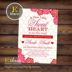 Printable Valentine's Baby Shower Invitation - Red and Pink Rose Floral Shower Invitation - Sweet Heart Valentines Day Shower https://www.etsy.com/shop/EThreeDesignStudio?ref=si_shop