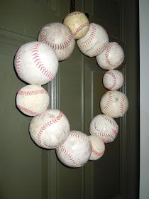 Baseball wreath - I would add red and white ribbon