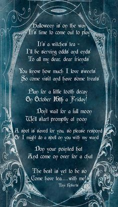 a Witches Tea Halloween Invitation It's a Witches Tea Halloween Invitation - Design Dazzle. Use printable background to type poemIt's a Witches Tea Halloween Invitation - Design Dazzle. Use printable background to type poem Halloween Bunco, Halloween Poems, Holidays Halloween, Vintage Halloween, Halloween Crafts, Halloween Decorations, Halloween Witches, Happy Halloween, Halloween Printable