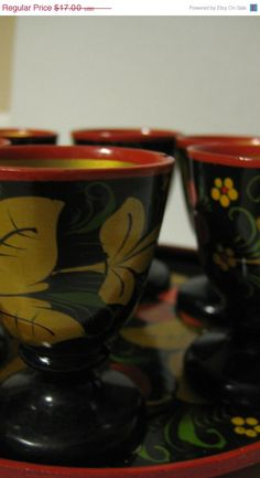 March Madness Sale Vintage Russian Lacquer Set by dtriece on Etsy, $13.60