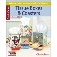 Leisure Arts-Tissue Boxes & Coaters. Celebrate each season with colorful designs for coasters and tissue box covers. This book contains eight projects with detailed instructions and images. Softcover,