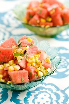 Chilled Grilled Corn and Watermelon Salad