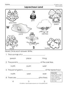 teach basic map skills with this printable map activity students  reading a map worksheet easy and free to click and print