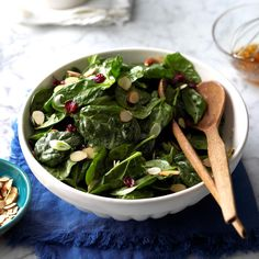 Cranberry Almond Spinach Salad Recipe -If you want something new to try for your Thanksgiving menu, Simple Side Salad Recipe, Side Salad Recipes, Spinach Salad Recipes, Salad Recipes For Dinner, Dinner Salads, Healthy Recipes, Drink Recipes, Cranberry Almond, Cranberry Salad