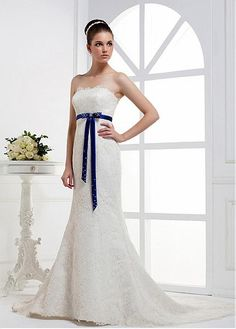 DRAMATIC ALENCON LACE SATIN SHEATH STRAPLESS NECKLINE RAISED WAIST BRIDAL DRESS WITH BEADINGS