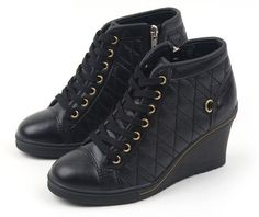 MAX Women Wedge Heel Shoes Girls Ankle Boots Platform Casual Laces Sneakers MIRR #MAX #PlatformsWedges