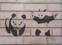 Panda with muzzle pistols guns Banksy Graffiti Image Street Art Banksy, Banksy Graffiti, Bansky, Graffiti Images, Street Artists, Life Is Beautiful, Panda, Stencils, Colours