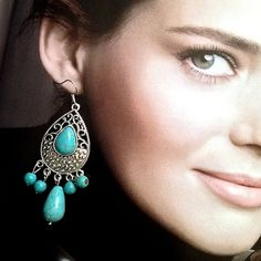 """Turquoise Hook Earrings Beautiful Turquoise Hook Earrings 🔸 Size: 1"""" x 3"""" 🔸 Material: Tibet Silver(not real silver) Faux Turquoise/Plastic 🔸 Condition: New 🔸 🚫No Trades 🚫No Holds 🚫No PayPal ✅MAKE AN OFFER Jewelry Earrings"""