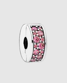Charm clip en plata y circonita rosa Pandora