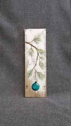 Turquoise Teal Handmade Christmas decoration, GIFTS UNDER 25, Pine Branch with teal Bulb, Reclaimed barnwood, Pallet art, Shabby chic