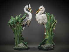Lot: NEAR PR MINTON MAJOLICA STICK STANDS, P. COMOLERA, Lot Number: 0140, Starting Bid: $15,000, Auctioneer: A.B. Levy's Palm Beach, Auction: R.LALIQUE,TIFFANY, FINE ART, ANTIQUES,CHINESE, Date: February 19th, 2015 CST