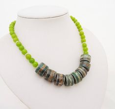 Striped Agate and Kyanite Necklace Necklace in Green Green Hematite Necklace, Blue Necklace, Beaded Necklace, Agate Jewelry, Agate Beads, Jewellery, Jade Earrings, Wire Wrapped Necklace, Green Gemstones
