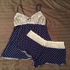 Matching PJ Set Super soft and cute polka dotted pj set! The shorts are very short, and the lace on the top is lined, so can't really see through. These are in great condition, just a little too tight on me. Honeydew Intimates & Sleepwear Pajamas