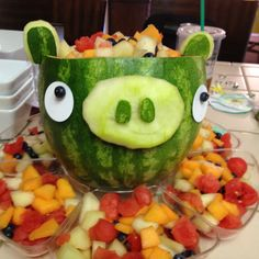 Pig watermelon fruit salad for an angry bird birthday party!