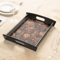 Black & Orange Haunted Halloween Serving Tray