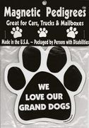 """Dog Paw Magnets We Love Our Grand Dogs  #Dog Paw #Magnets   http://www.inspiredbrush.com/dogmapemawel.html# We Love Our Grand Dogs  Item# paw-magnet-P29  $5.95  We Love Our Grand Dogs:   39  Product Description  We Love Our Grand Dogs Magnets. Dog Magnetic Paw Print Magnets Large 5"""" x 5""""    Show your love for your Dog. Magnets are screen printed on magnetic material with long lasting UV inks. All are made in the USA. Packaged by Persons with Disabilities."""