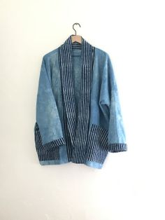 Natural Indigo Hand-dyed kimono jacket with navy blue batik details and deep pockets by Hilary L Hahn Dresses For Less, Women's Dresses, Kimono Coat, Indigo Dye, Sustainable Clothing, Kimono Fashion, Street Style Women, Model, Jackets