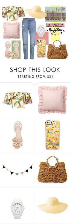 """""""Summer and Ruffles"""" by blackyogurtgirl ❤ liked on Polyvore featuring Isolda, Pottery Barn, Miu Miu, Casetify, ferm LIVING, Cappelli Straworld, Nixon and Columbia"""