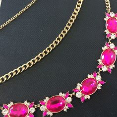 Pink and gold statement necklace Pink gemstone necklace in gold.  Definitely a statement piece! Jewelry Necklaces