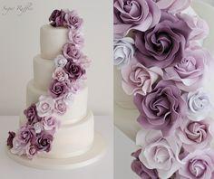 Lace wedding cake with cascading purple roses Purple Roses Wedding, Wedding Cake Roses, Purple Wedding Cakes, Elegant Wedding Cakes, Wedding Cake Designs, Wedding Cupcakes, Wedding Ideas, Lace Wedding, Autumn Wedding