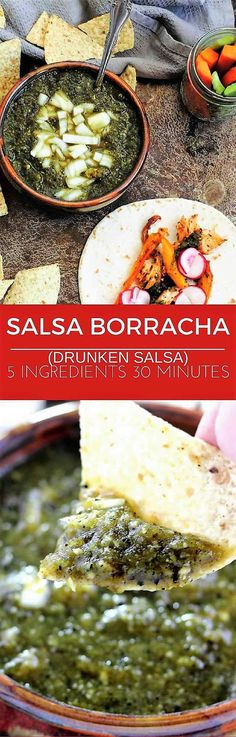 Salsa Borracha is made with pan roasted pasilla chile peppers, garlic, orange juice, chopped onion and your favorite Mexican beer.